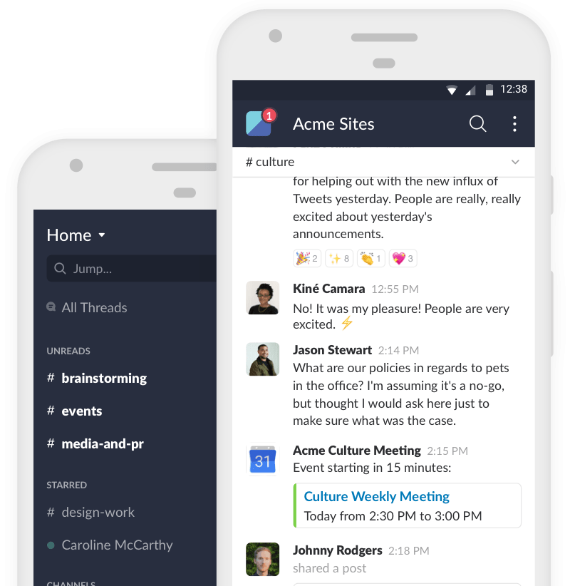 The slack app allows for team members to communicate anywhere