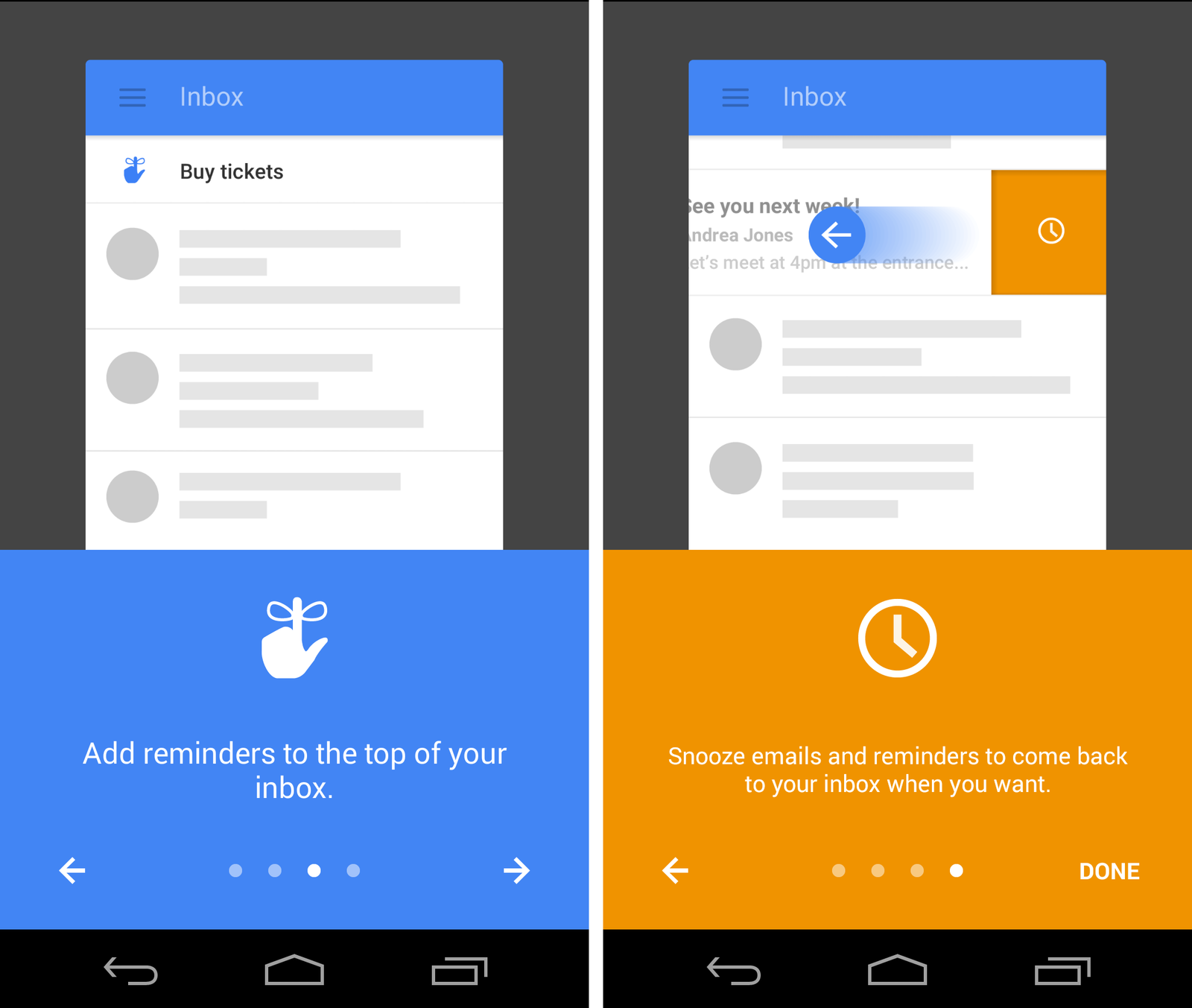Gmail onboarding screens